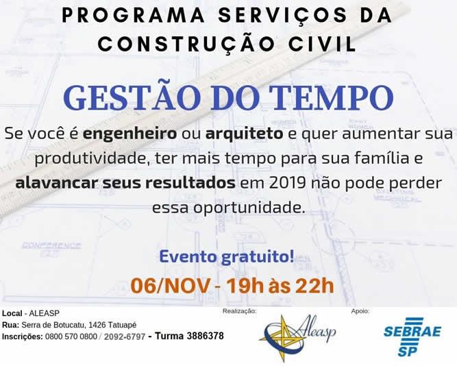Programa Serviços da Construção Civil - Gestão de Tempo