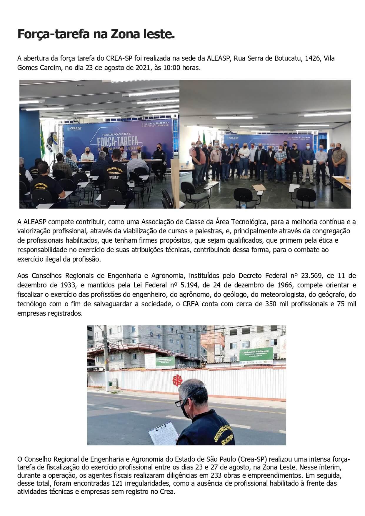 Fiscalização CREA-SP – Força Tarefa – São Paulo – Leste - 2021 .